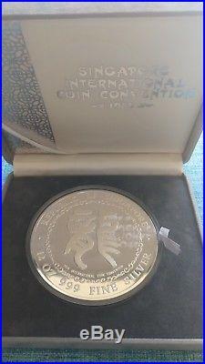 Singapore 1988 Dragon lunar 12 oz silver medal coin convention