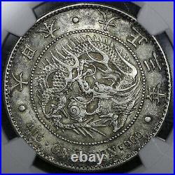 T3 (1914) Japan Yen NGC AU58 original toning, rare old Japanese dragon coin