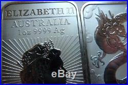 TEN 1oz silver bars 2019 Silver Dragon rectangular Bullion Coin Bars