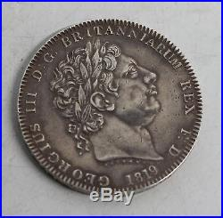 THE ROYAL MINT 1819 King George III & Dragon Roman Sterling Silver Crown Coin