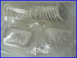 THIRTY x silver 999 bullion coins 1oz Britannia 2014 2015-2019 + Dragon 1oz bars