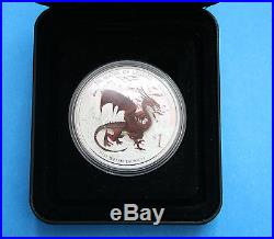 TUVALU 2012 Red Welsh Dragon 1 oz. Silver Proof coin with COA