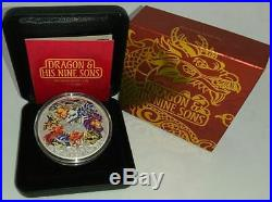 TUVALU 2015 5$ DRAGON AND HIS NINE SONS 5 OZ PROOF Coloured Silver Coin