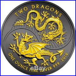 TWO DRAGONS 2018 1 oz Pure Silver Coin Black Ruthenium and 24K Gold Plating UK