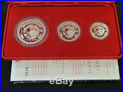 The 2000 Australian Proof Lunar Silver Coin Series 3 coin set Year of the Dragon