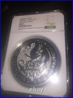 The Queens Beasts 2018 10oz G. Britain S£10 red dragon of wales ms 69