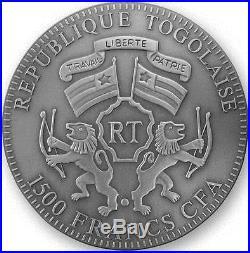 Togo 2012 1500 Francs Lunar Year Chinese Zodiac DRAGON AMBER 2 Oz Silver Coin