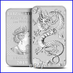 Tube of 20 2019-P Australian 1 oz. 9999 Fine Silver $1 Dragon Bar / Coin