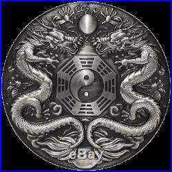 Tuvalu 2 Dollar 2019 Double Dragon Chinesische Fabelwesen 2 Oz Silber AF