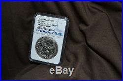 Tuvalu 2017 $2 Dragon 2 oz Silver Coin NGC MS 69 Antiqued ER