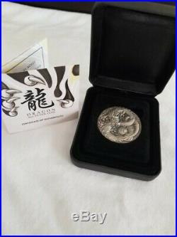 Tuvalu 2017 $2 Mythical Creatures Dragon 2 oz Antique Silver Coin