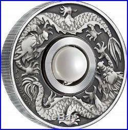 Tuvalu 2017 The Unique Dragon and Pearl 1 oz Silver Antique Coin with COA/BOX