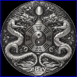 Tuvalu 2019 Mythical Creatures Double Dragon 2 $ 2 oz silver coin mintage 888