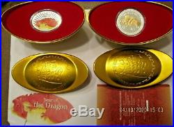 Two'Lunar 2012 Year Of The Dragon' 1 oz. Proof Coins With Mint Packaging