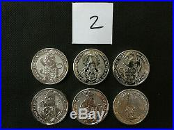UK Queen's Beasts 6 2 oz Silver Coins-Lion Griffin Dragon Unicorn Bull Falcon 2