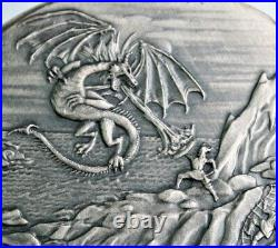 Ultra High Relief Silver 10 oz. 999 Fine ANTIQUED Dragon Fire Coin with box-a