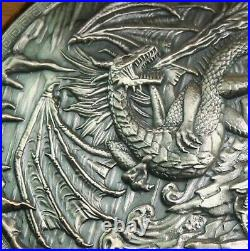 Ultra High Relief Silver 10 oz. 999 Fine ANTIQUED Dragon Fire Coin with oak BOX