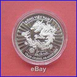 Vietnam 2000 Year of the Dragon 10000 Dong Silver Proof Coin I