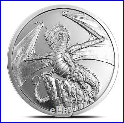 WORLD OF DRAGONS COMPLETE SET of 12 6-1 Oz. SILVER & 6-1 Oz. COPPER COINS & BOX