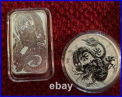 WOW! FREE DRAGON KNIFE+4 Dragon Coins Perth/Australian Mint=3 Oz Of. 9999 silver