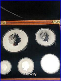 Year Of The Dragon Silver Bullion High Relief Australian Coin Set Case 10oz 5 2+