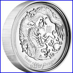 Year of the Dragon 2 oz. 999 Silver 2012 Uncirculated Bullion Coin Perth Mint
