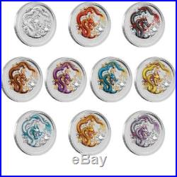 Year of the Dragon 2012, Silver Nine. Coin Coloured Set, 9x 1 oz Silber
