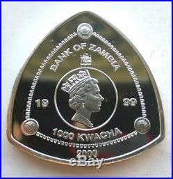 Zambia 1999 Dragon 2000 Kwach 1oz Silver Coin, Proof